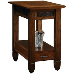 Leick Furniture Slatestone Chairside End Table in a Rustic Oak Finish