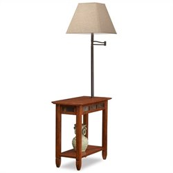 Leick Favorite Finds Slate Chairside Lamp End Table in Rustic