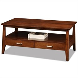 Leick Delton Two Drawer Storage Solid Wood Coffee Table in Sienna