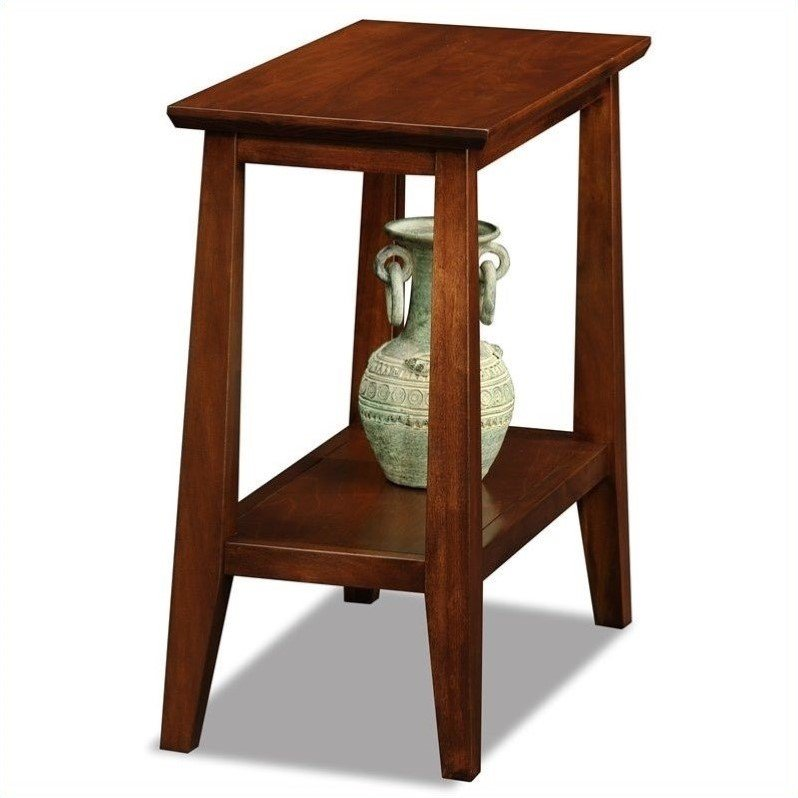 Leick Delton Narrow Chairside Solid Wood End Table In