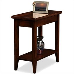 Leick Furniture Laurent Solid Wood Rectangular End Table in Chocolate Cherry