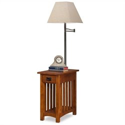 Leick Mission Chairside Solid Wood Lamp Table Medium in Oak