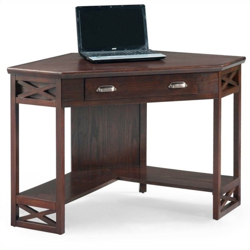 Leick Furniture Corner Computer Writing Desk In Chocolate