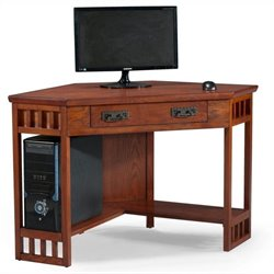 Leick Furniture Corner Computer Desk in Mission Oak