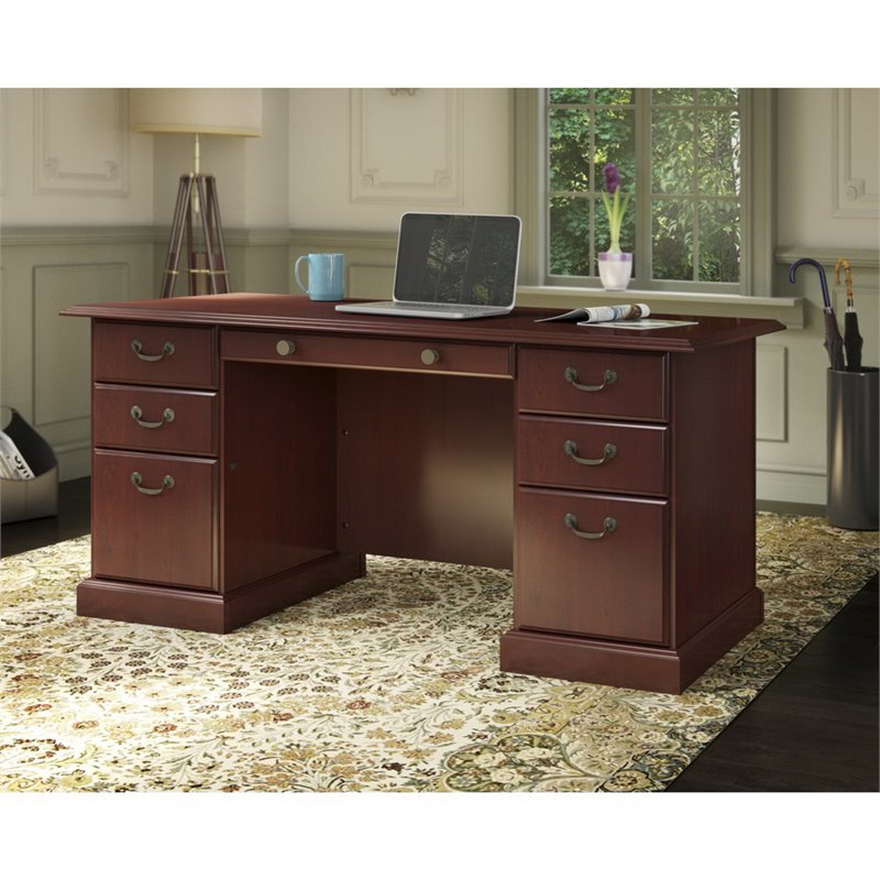 Kathy Ireland By Bush Bennington Pedestal Desk In Harvest