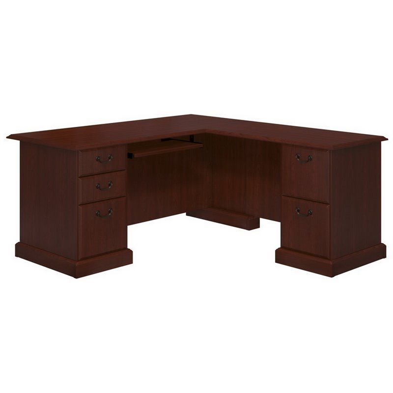 Kathy Ireland By Bush Bennington L Desk In Harvest Cherry