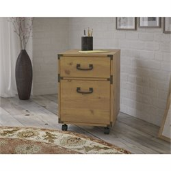Kathy Ireland by Bush Ironworks 2 Drawer Pedestal in Golden Pine