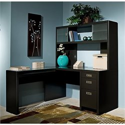 Kathy Ireland Office by Bush New York Skyline L-Shape Desk with Hutch