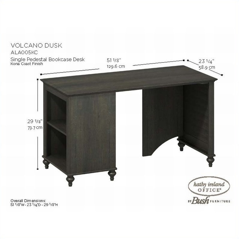 Kathy Ireland by Bush Volcano Dusk Bookcase Desk in Kona Coast