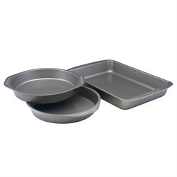 Farberware Bakeware 3 Piece Nonstick Cake Pan Set in Gray