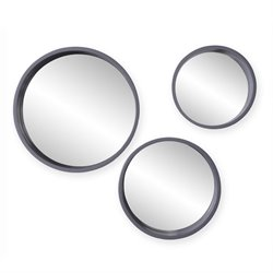 Holly & Martin Daws 3 Piece Decorative Wall Mirror Set in Cool Gray
