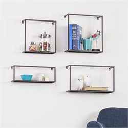 Holly & Martin Zyther Metal Wall Shelf in Antique Black (Set of 4)