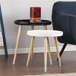 Holly & Martin Coho 2 Piece Accent Table Set in Black and White