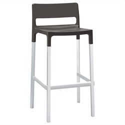 Italmodern Divo  Stool in Anthracite and Aluminum