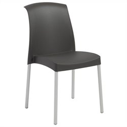 Italmodern Jenny Stacking Dining Chair in Anthracite and Aluminum