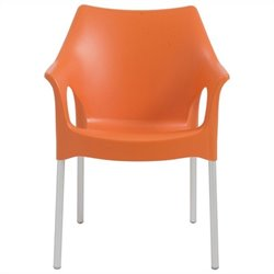 Italmodern OlaOffice Dining Chair in Orange and Aluminum