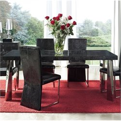 Dupen Coco Dining Table with Glass in Black