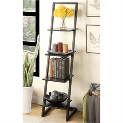 4 Shelf Ladder Bookcase in Black