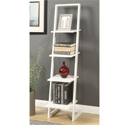 4 Shelf Ladder Bookcase in White