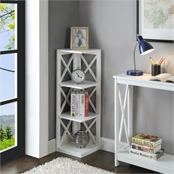 3 Shelf Corner Bookcase in White
