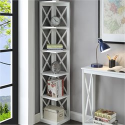 5 Shelf Corner Bookcase in White