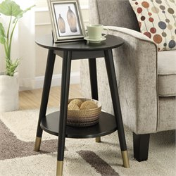 Mid Century Round End Table in Black