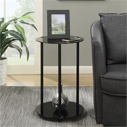 Round End Table in Black