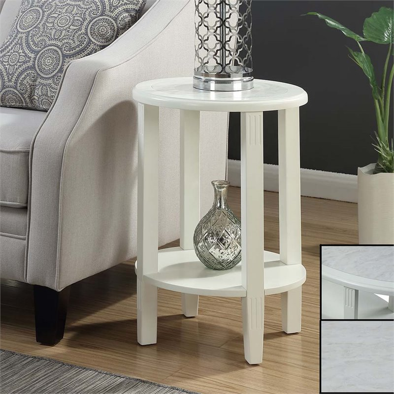 Oval end table in white 111745w for White end tables for living room
