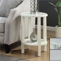 Oval End Table in White