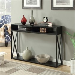 Deluxe 2 Tier Console Table in Black