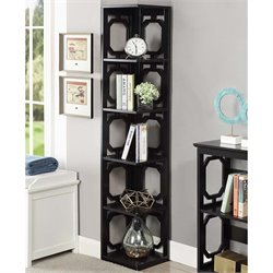 5 Shelf Corner Bookcase in Black