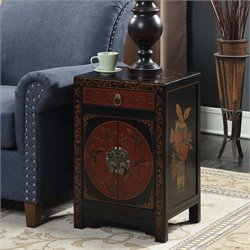2 Door End Table in Black and Red