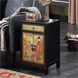 1 Drawer Cabinet End Table in Black