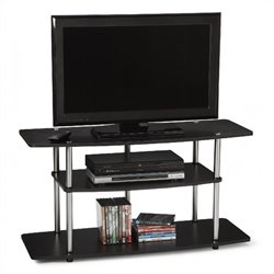 Wide 3-Tier TV Stand in Black