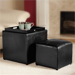 Single Cube Ottoman in Black