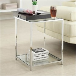 Glass End Table in Black
