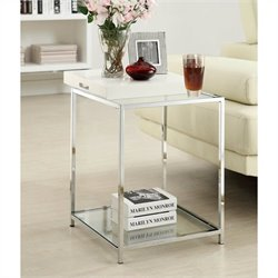 Glass End Table in White