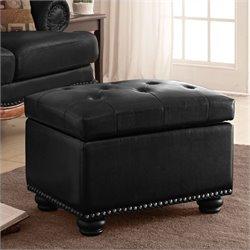 5th Avenue Black Storage Ottoman