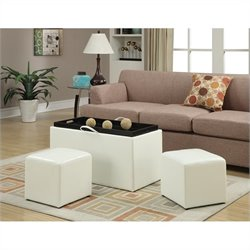Storage Bench with 2 Side Ottomans - White