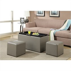 Storage Bench with 2 Side Ottomans - Grey