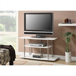 3 Tier Wide TV Stand - White