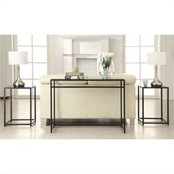 Convenience Concepts Designs2Go 3 Piece Glass Top Console Table Set in Black