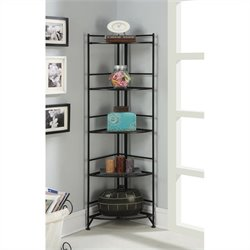 5 Tier Folding Metal Corner Shelf - Black