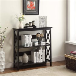 2 Shelf Bookcase in Glossy Black