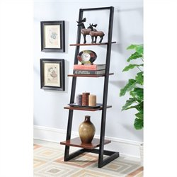 4 Tier Ladder Bookshelf in Black and Cherry