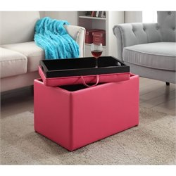 Accent Storage Ottoman in Pink
