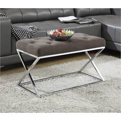 Bench Ottoman in Taupe and Chrome