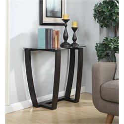 Glass Top Console Table in Espresso