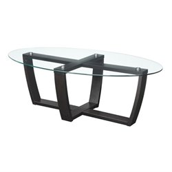 Glass Top Coffee Table in Espresso