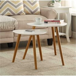 Nesting End Tables in White and Natural